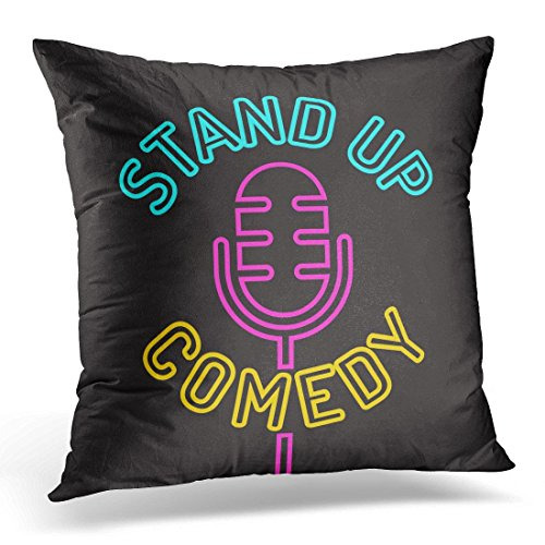SPXUBZ Red Event Stand Up Comedy Icon Design on White Laugh Mic Decorative Home Decor Square Indoor/Outdoor Pillowcase Size: 18x18 Inch(Two Sides) ()