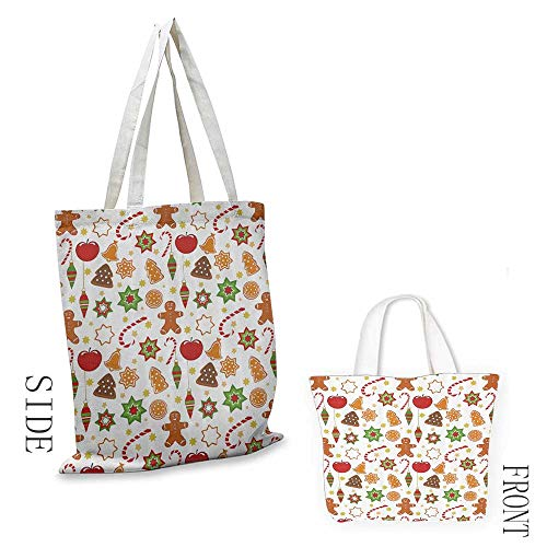 Canvas shopping bag Gingerbread Man Festive Christmas Icons Graphic Pattern Star Figures Cookies Apples Bells Doll bag 16.5