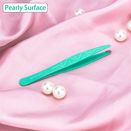 Spillight Eyebrow Tweezer, Pearly Smooth Slant Tip Tweezer for Precision Trimming, Beginner Tweezer for Splinter Ingrown Hair Removal, Skin-like Rubber Coated Stainless Steel Tweezer, Blue