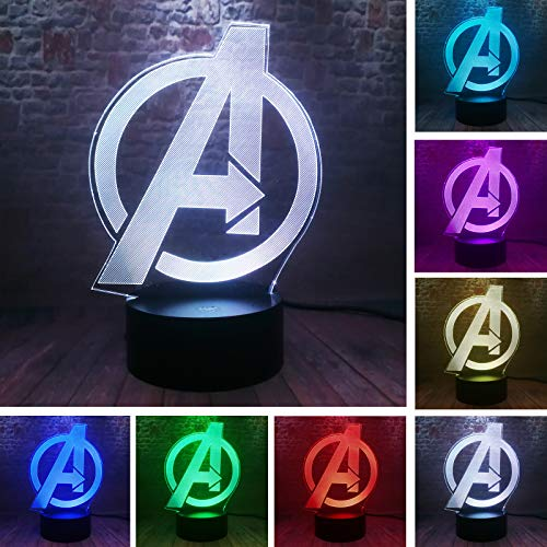 Avengers Logo - Marvel Comics - Night Light - The Avengers 4 Sign Model 3D Illusion LED USB Touch Colourful Lamp Marvel Avengers Endgame Logo Figuras Light-up Toys Creative Cartoon Personalized Decor