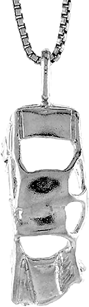 Sterling Silver Wrecked Car Pendant 7//8 inch Tall