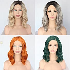 Sapphirewigs Short High Density Dark Brown Roots Ombre Beige Water Wave Heat Resistant Hair Blogger Daily Makeup Glueless Mother's Day Gift Synthetic Lace Front Wedding Party Wig
