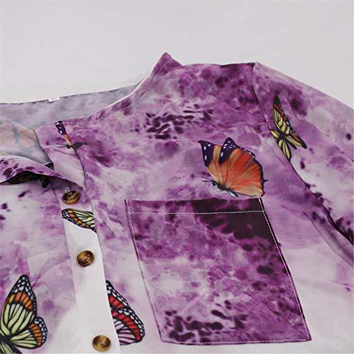Automne Top Longues Tendance Manches Papillon Nouveau Violet Pull kingwo Femme imprim wx65YWt