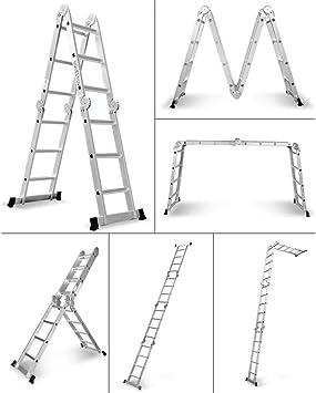 XC Multifuncional Escaleras telescópicas- Escalera Portátil escalera de doble cara de aluminio telescópica de 4 m plegable multiuso Loft Escalera, en Aplicar for renovar la casa Loft Oficina interior: Amazon.es: Bricolaje y