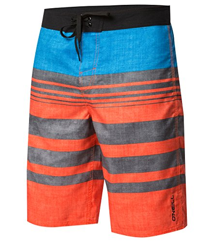 O'Neill Men's Santa Cruz Striped Boardshorts, Bobcats Deal Troy Orange, Size ()