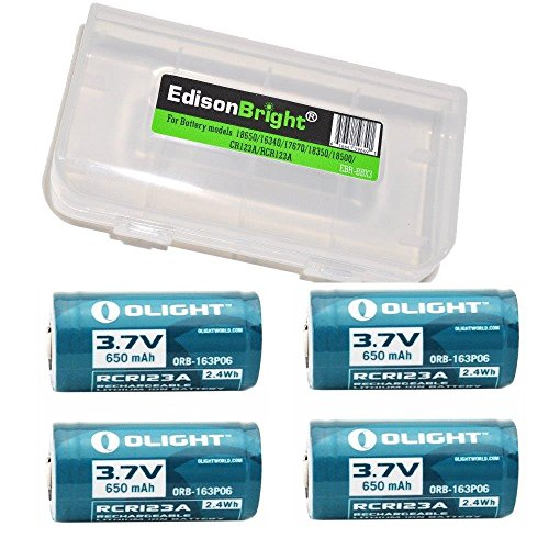 4 Pack Genuine Olight RCR123A 3.7v rechargeable protected li-ion type 16340 batteries with BBX3 battery carry case