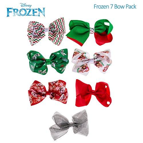 Ideas Costume Korean (Disney Frozen Anna Elsa Girls Christmas Style Bow Hair Set 7PK Red White)