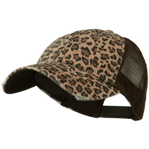 Wholesale Low Profile Soft Structured Canvas Leopard Print Cap (Brown) - 22065