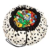 """Play&Go Children Designer Play Mat and Toy Organizer Storage 55"""" Bag - Portable Container for Storing Kids Toys - Panda"""