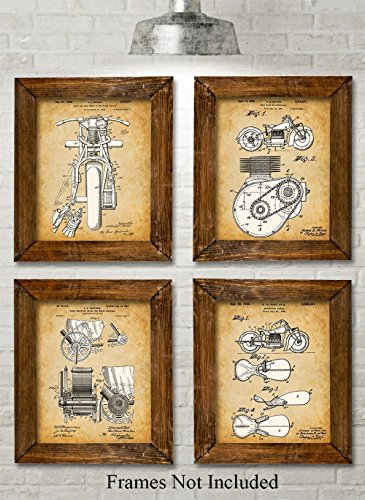 Vintage Motor Racing (Original Indian Motorcycle Patent Art Prints - Set of Four Photos (8x10) Unframed - Great Gift for Motor Cycle Riders)