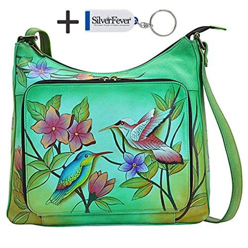 Anna By Anuschka Travel Organizer Purse - Hand Painted Design on Real Leather Crossbody Handbag - Free Key Chain ... (V-Top Birds in Paradise - Paradise Bird Tote Of