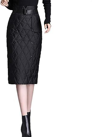 Sección Larga Falda de la Mujer, Negro Abajo algodón Mantenga ...