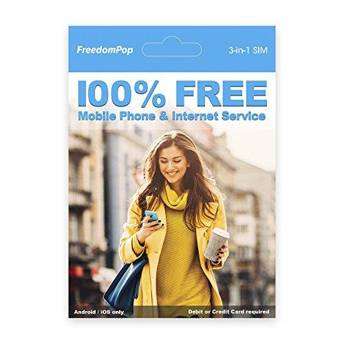 FreedomPop 3-in-1 Sim pre-activated with 1 GB Bonus Data