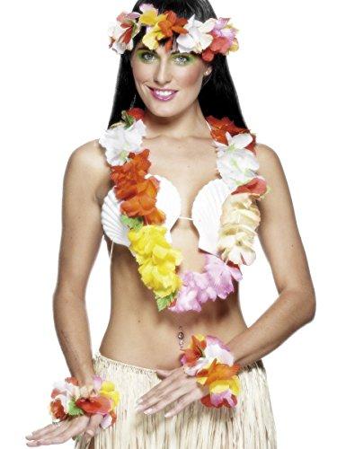 Smiffy's Women's Hawaiian Set, Garland, Headband and Wristband, One Size, Multicolour, (Hawaiian Costumes Women)
