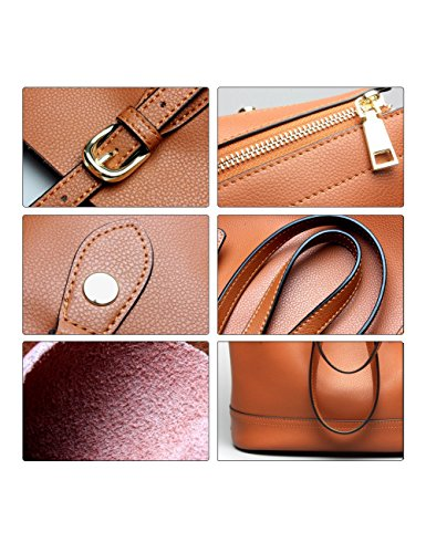 for Handbag Shoulder Tote Capacity Leather Bags Large Brown Women Purses Genuine Bucket SqHHnzU