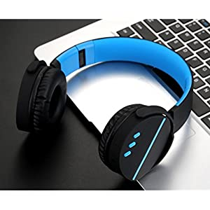 GBSELL Foldable Stereo Wireless Bluetooth V4.1 HIFI Headphones Gaming Earphone with Mic for Pc /Mac /SmartPhones /Desktop/Laptop/Notebook (Blue)