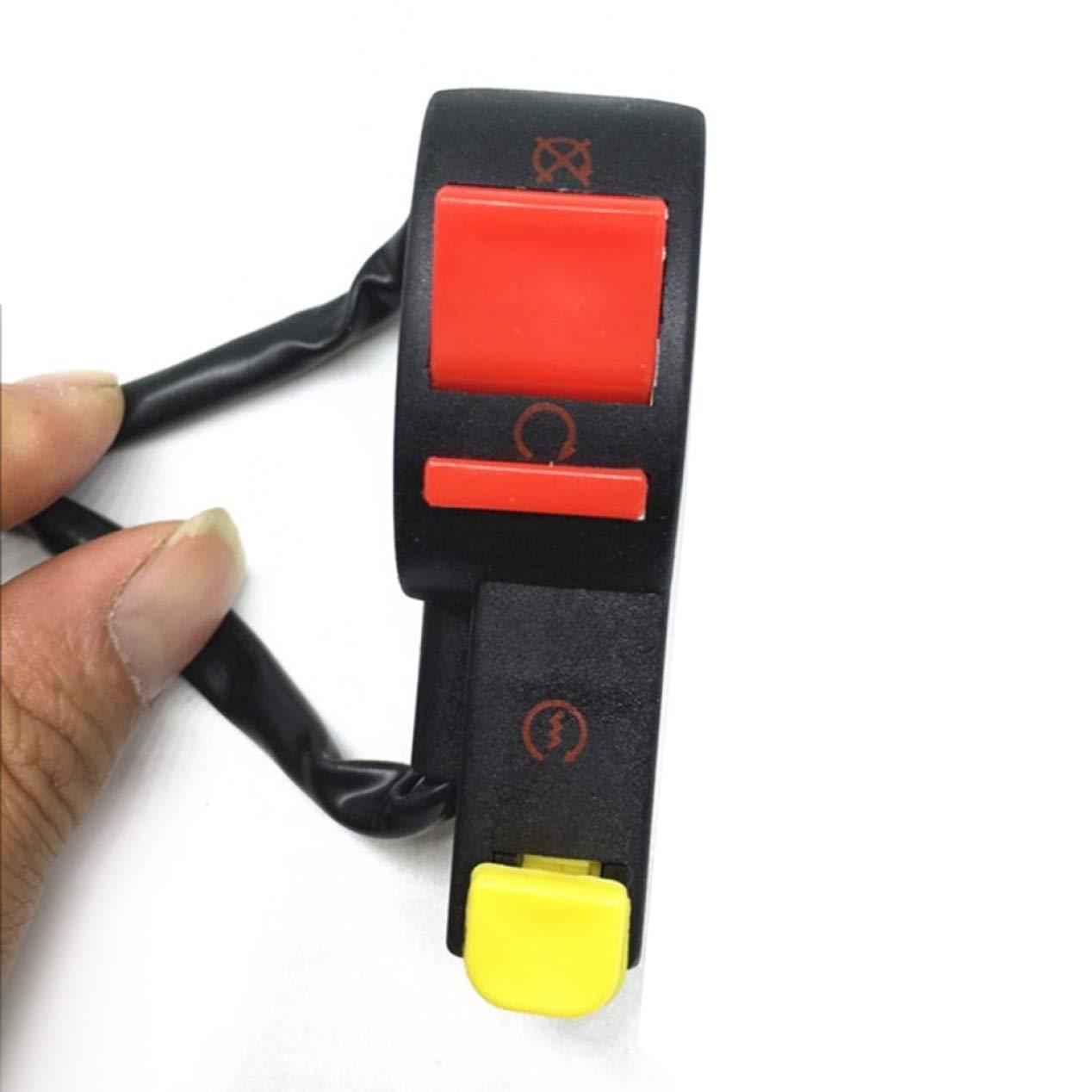/& Stop-Schalter Knopf 4 Draht Verbindung /& Fernlicht Schalter pinruitai fabelhafte Off-Road Motorrad Elektro Starter Lenker Start
