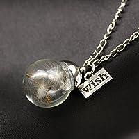 1pc Glass Ball Dandelion Seed Wishing Wish Pendant Necklace Long Chain Statement