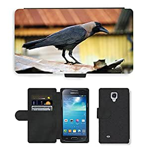 Super Stella Cell Phone Card Slot PU Leather Wallet Case // M00147974 Crow Bird Black Raven // Samsung Galaxy S4 Mini i9190