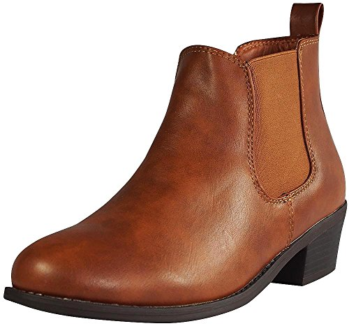 Refresh Tildon-02 Womens Almond Toe Simple Flat Heel Ankle Riding Booties,Cognac,8.5