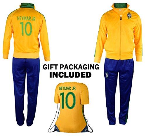 Fan Kitbag Brazil Neymar Jr #10 Kids Soccer Tracksuit All Youth Sizes ✓ Neymar Jr #11 Soccer Track Jacket Top ✓ Kids Soccer Track Pants ✓ GIFT READY Packaging ✓ (YL 10-12 Years Old, Neymar Jr #10)