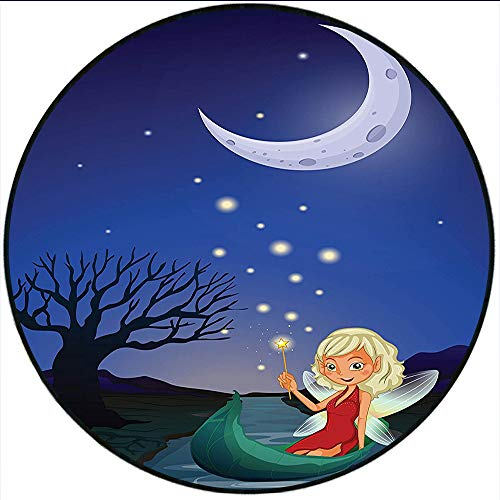 Short Plush Round Carpet Fantasy Elf Pixie Sitting on The Boat Under Full Moon Sky Night Magic Fairy Girlish Graphic Color Living Room Computer Chair 47.2
