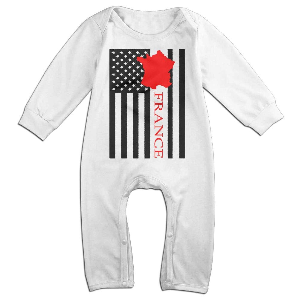 UGFGF-S3 American Flag France Map Long Sleeve Infant Baby Romper Jumpsuit Onsies for 6-24 Months Bodysuit