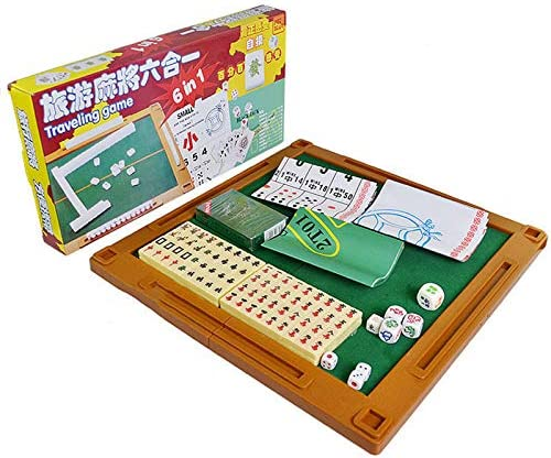 YUSDP Mini Juegos Mahjong portátiles 6 en 1-144 Azulejos Material acrílico - con Estuche Plegable -Juego de versión en Chino Tradicional - para Viajes de Ocio Familiar: Amazon.es: Hogar