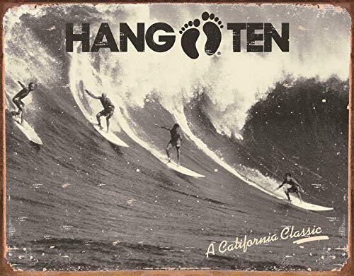 Desperate Enterprises Hang Ten - California Classic Tin Sign, 16