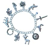 Game of Thrones Silver Plated Charm Bracelet with Pewter Charms- Fantasy Fan Jewelry - Sizes XS - XL