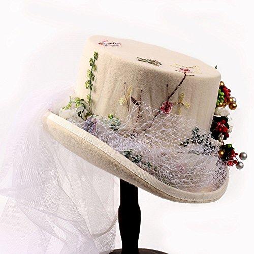 Elegantes Hojas Blanca Lana Mujeres Con Xacquanyao Adornos Gasa Sombrero Gaotongtan Fiesta Y De Tamaño 57cm Blanco Frutas Blanco Para color Mujer qBft47