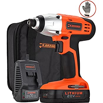 Mr.Orange 1/4 Inch 20V Lithium-Ion Cordless Impact Driver Kit with Quick Charger and Battery Includes Durable Gloves 2 pcs socket driver bits and Soft Tool Bag