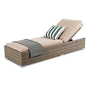 Island Gale All-weather Adjustable Outdoor Patio Pool Chaise Lounge Furniture, 6 Inches Deep Seating Cushion, Latte, Dubai Collection