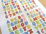 Small Colored Alphabet Letters and Numbers Stickers childrens labels for kids craft