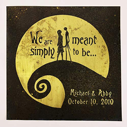 Nightmare Before Christmas Wedding Gift. Personalized Anniversary, Jack and Sally, Wall Art. Capture Your Special Day in a Unique Way on Brass or Copper. Made for Love with Love -