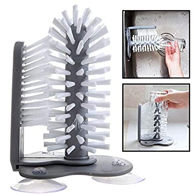 Water Bottle Cleaning Brush Glass Cup Washer with Suction Base Bristle Brush for Beer Cup, Long Leg Cup, Red Wine Glass and More Bar Kitchen Sink Home Tools Grey