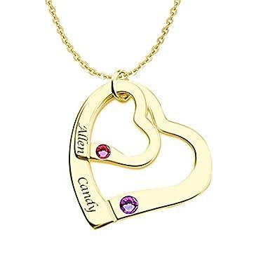 HACOOL personalisierte 925 Sterling Silber Doppel Heart Birthstone ...