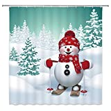 "VANCAR Waterproof Bathroom Decor Custom Xmas Merry Christmas Shower Curtain Sets with Hooks 66""X72"" 3D Winter Tree Snowman Skiing Pattern Print"