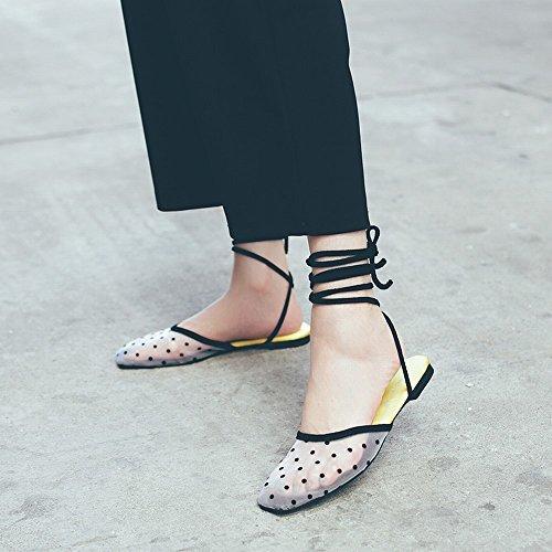 Encaje Zapatos Blanco DHG Sandalias de Baotou Transpirable Malla Cruzado Hilo de 36 Femeninos Planos Romanos Zapatos Eq7f6w7