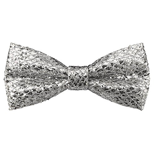 Men's Adjustable Pre-tied Bowtie Leather Glitter Sequins Solid