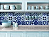 wall tile designs  Peel and Stick Wall Tile Sticker Art Kitchen Eclectic Set of 24 Stickers 4x4 Inches - (Royal Blue)