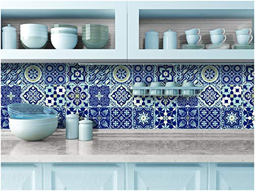- Tiva Design Peel and Stick Wall Tile Sticker Art Kitchen Eclectic Set of 24 Stickers 4x4 Inches - (Royal Blue)