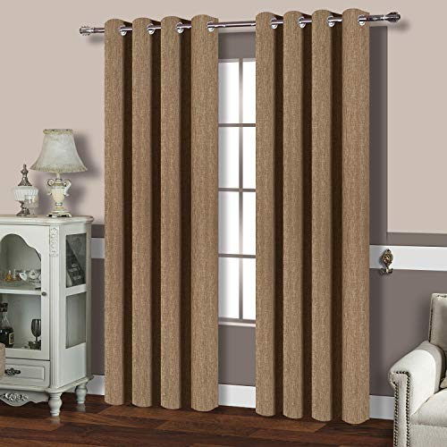 BEST DREAMCITY Room Darkening Curtains, Thermal Insulated Solid Grommet Faux Linen Drapes for Bedroom, Pack of 2, 52