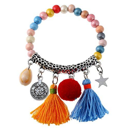Bohemian Beaded Bracelet Tassel Shell Pendant Charm Stretch Beach Bangle Bracelet Jewelry (Multicolor) (Bangles Wooden Shell)