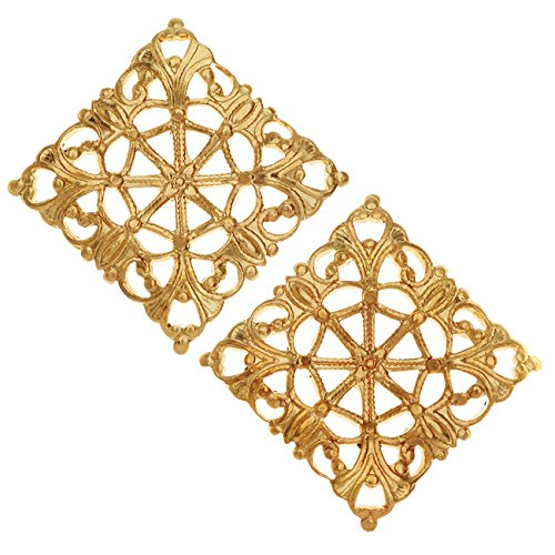 (Vintaj Vogue Embellishments, Filigree Moroccan Tile 20x20mm, 2 Pieces, Raw Brass)