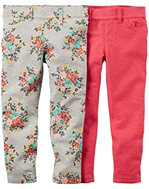 Baby Girls' 2-Pack Jeggings - Pink/Floral (24 Months)