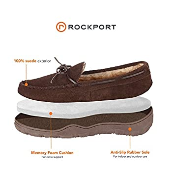 Rockport Men's Memory Foam Plush Suede Slip On Indooroutdoor Moccasin Slipper Shoe (Brown Moccasin, Size 13 Slipper) 1