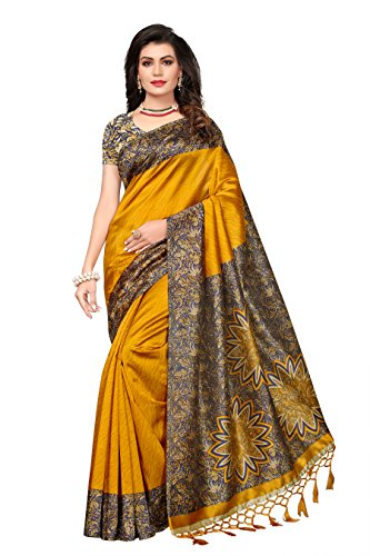 ishin Women's Art Silk/Blended Mysore Silk Printed Saree/Sari With Tassels Free Size Mustard Yellow