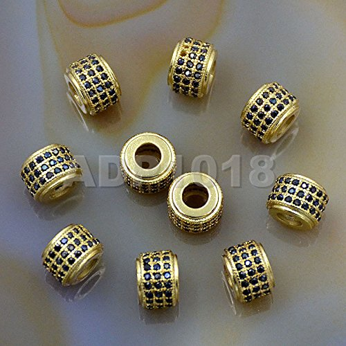 AD Beads Zircon Pave Rhinestones Rondelle Or Hexagon Bracelet Connector Spacer Beads (5 Pcs Black on Gold 3 Row Rondelle (6x7mm))