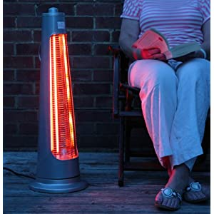 Firefly 900W Streamline Rotating Electric Quartz Bulb Outdoor Pario Heater with 2 Power Settings